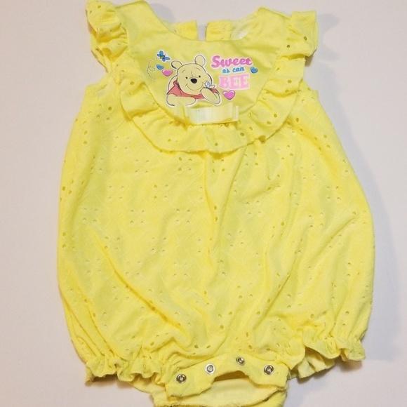 Baby Girls Winnie The Pooh Eyelet Romper 12 Months Yellow
